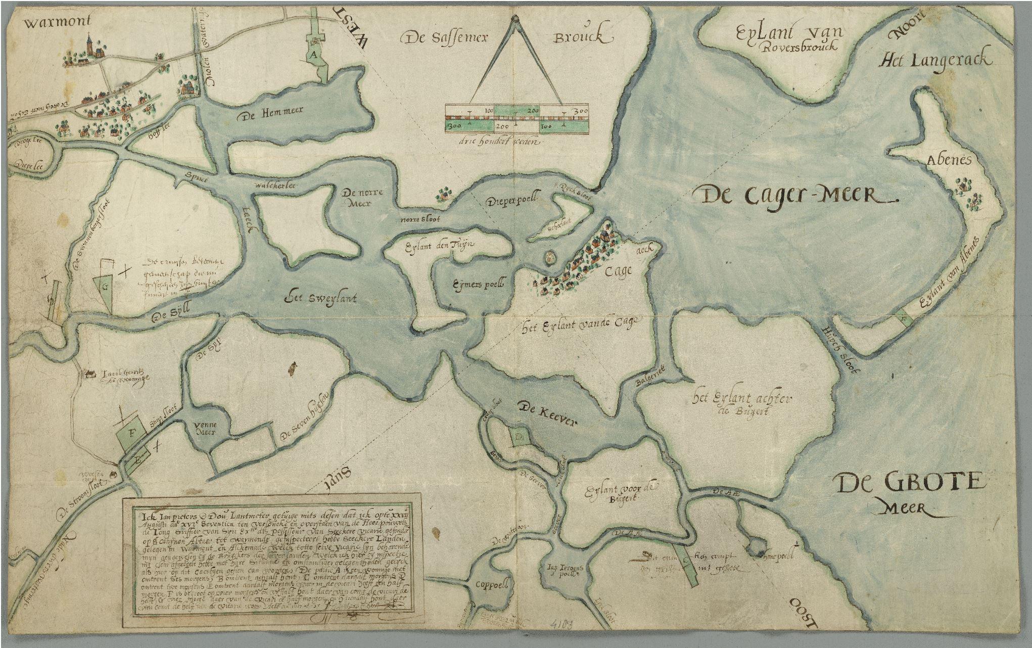kaart van de kagerplassen uit 1617